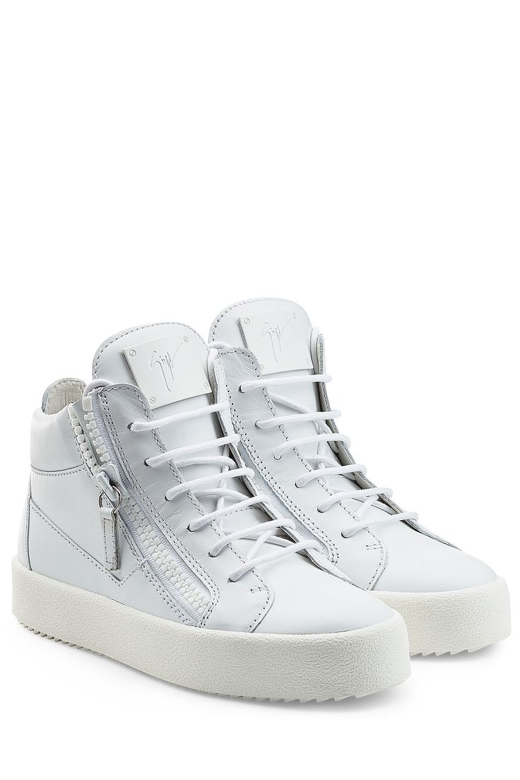 Giuseppe Zanotti Leather High-Top Sneakers - white - Kwasi Shoes Store