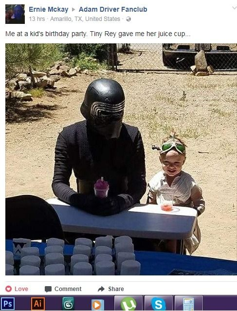 "willowswisp: ""chai-hawkins: ""So Kylo Ren went to my friends' relative birthday party and its the cutest thing I've seen. Maybe I'll hire a Kylo Ren dude in my birthday party next. "" So adorable! "" This is hella cute!"