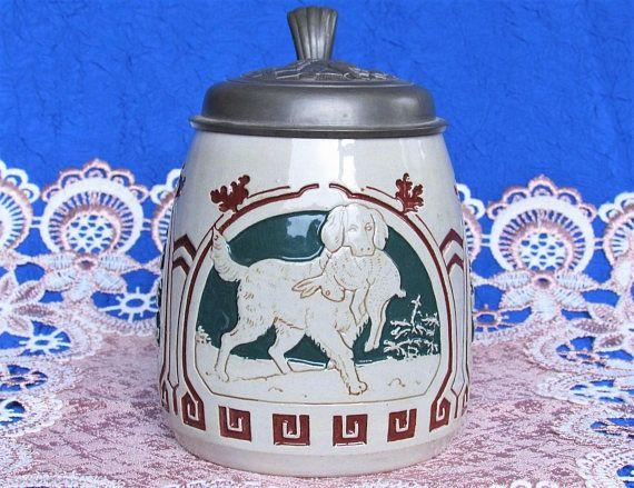 1920s Albert Thewalt Beer Stein Hunter lid Dog rabbit Antique
