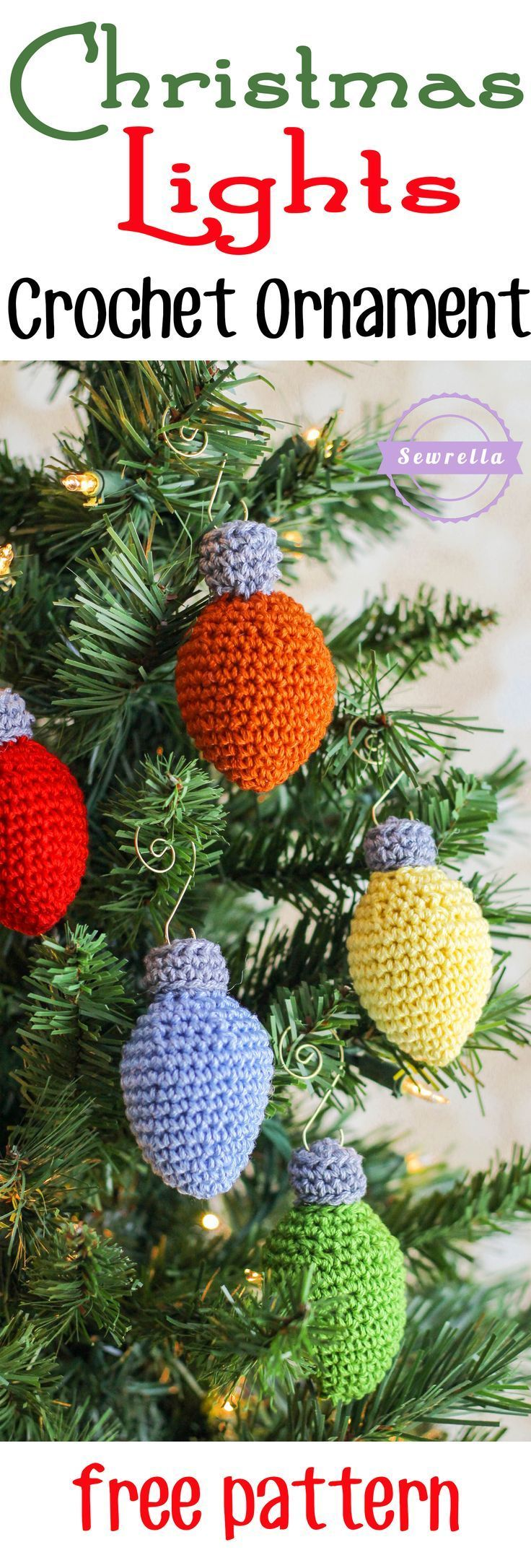 Christmas Lights Crochet Ornament   25 Days of Christmas Traditions Crochet-a-Long   Free Pattern from Sewrella