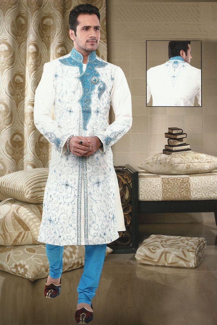 Blue Sherwani White And Deep Sky Blue Dupion Silk