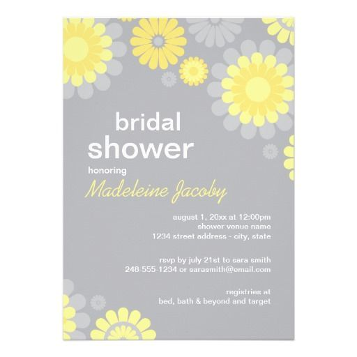 17 best images about daisy wedding invitations on for Yellow bridal shower invitations