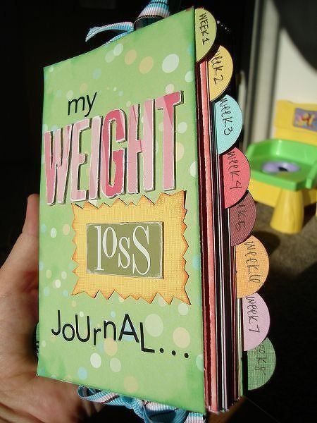 weight loss journal. I like this idea for keeping healthy recipes, fun exercises, and motivational quotes in, along with journaling goals and successes.