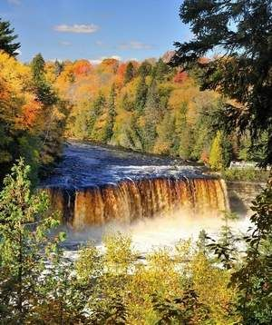 Tahquamenon Falls in the eastern Upper Peninsula between Paradise and Newberry is favorite spot for beautiful views in the fall.