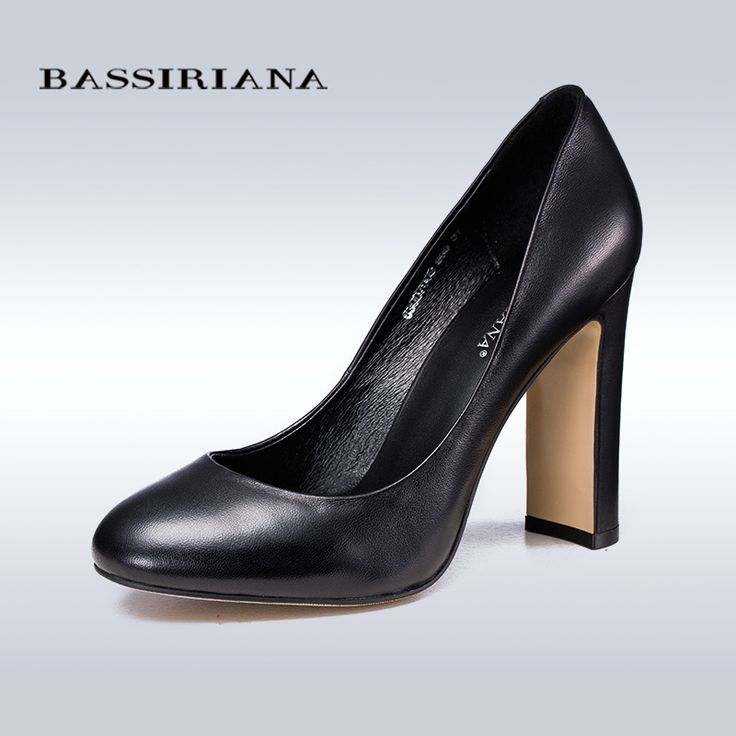 BASSIRIANA pumps 2016 high heels shoes woman Genuine leather Big size 35 40 Round toe Balck and Brown colors Free shipping-in Women's Pumps from Shoes on Aliexpress.com | Alibaba Group