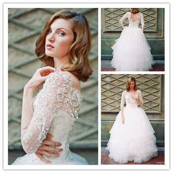 W0488 see through sexy ball gown boat neck 3 4 sleeve for Boat neck long sleeve wedding dress