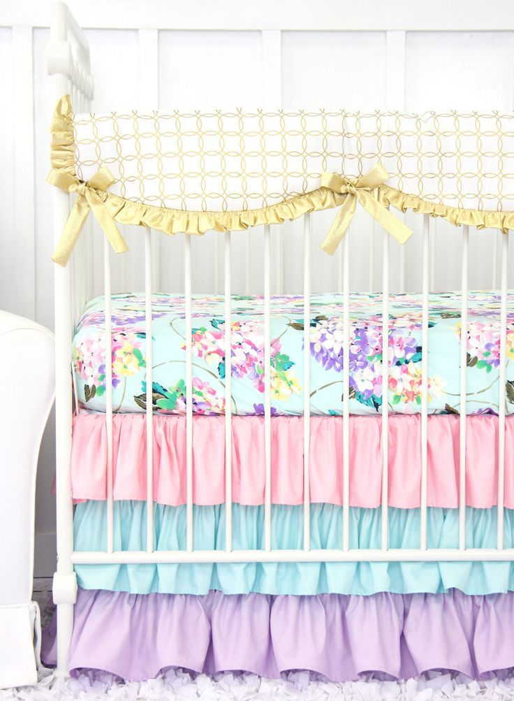 Holly S Hydrangea Ruffle Baby Bedding Pastel Pink Blue