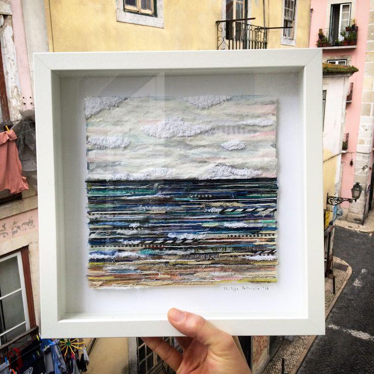 SEASCAPE VIII // 100% collage // fabric on cardboard // ( 22 x 23 cm / 8,6 x 9 inches ) ©philippe patricio 2016