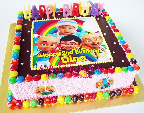 Birthday Cake with Upin & Ipin Edible Image
