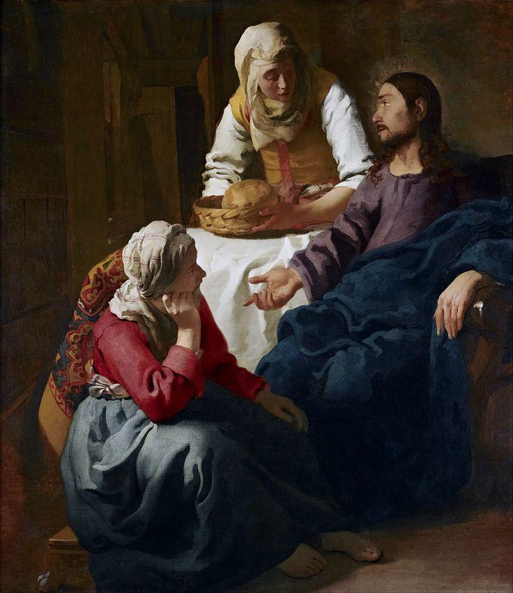 Johannes Vermeer Chrystus w domu Marii i Marty, ok. 1654 - 55, National Gallery…