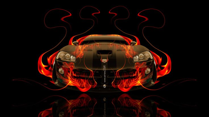 Dodge Viper SRT Front Fire Abstract Car 2014