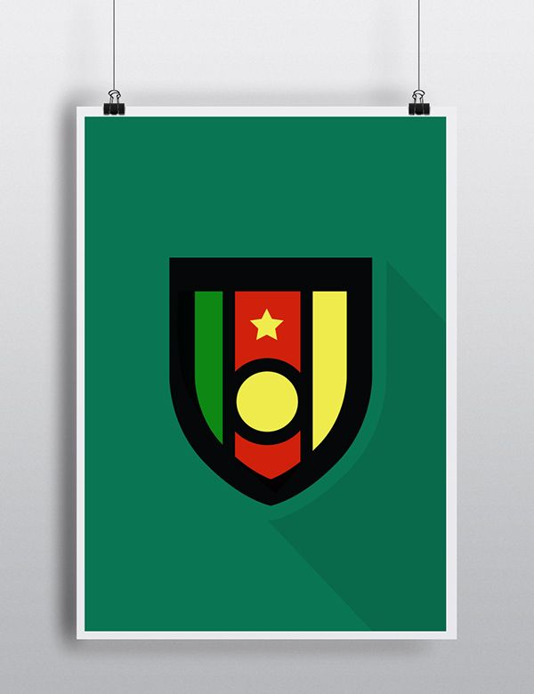 CAMEROON World Cup Badges - Flat design