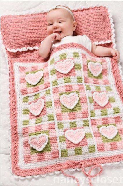 Pretty Hearts Baby Sleeping Bag Crochet Pattern   eBay No free pattern but cute idea