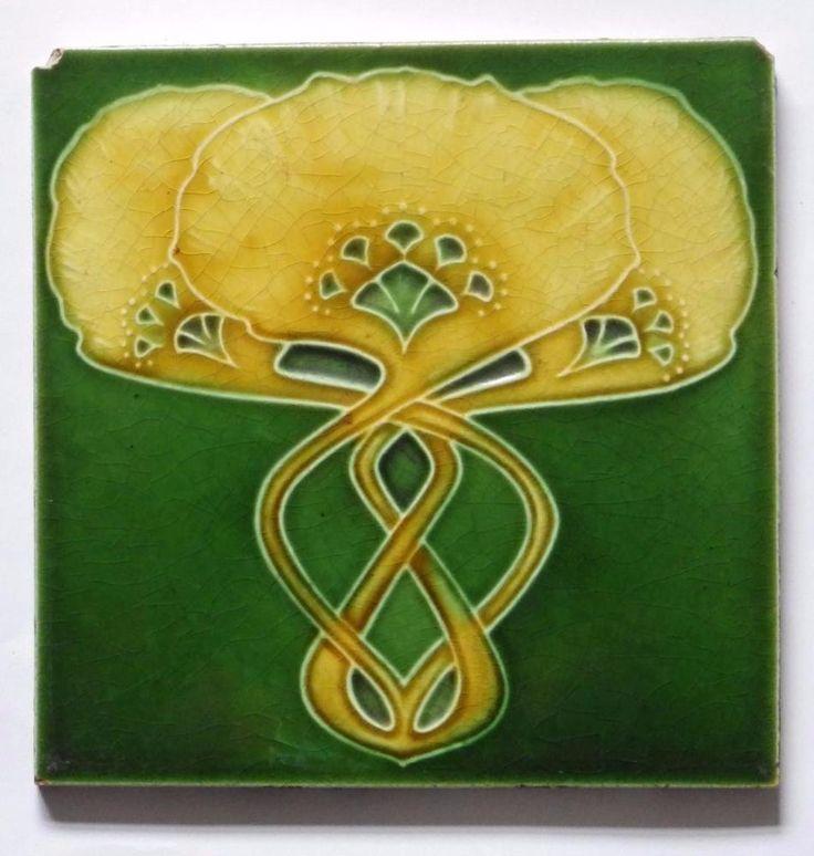 Antique Art Nouveau Tile by Cleveland Tile Co, c1906