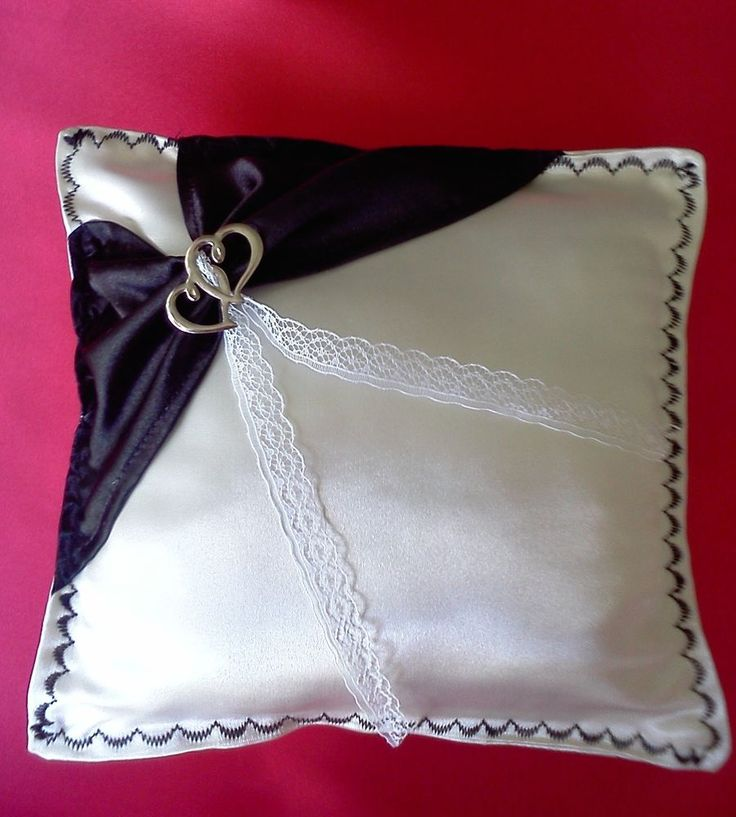 Domichcreations White satin wedding ring pillow black lace double hearts bride #Domichcreations