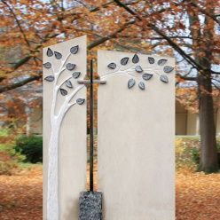 Grabstein romantisch mit Baum Design & Kreuz - Elba