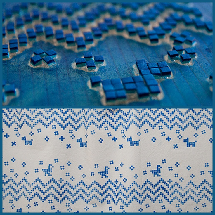 Stamp made of clear polycarbonate sheet and small squares  of hard foam to create cross stitch on fabric.