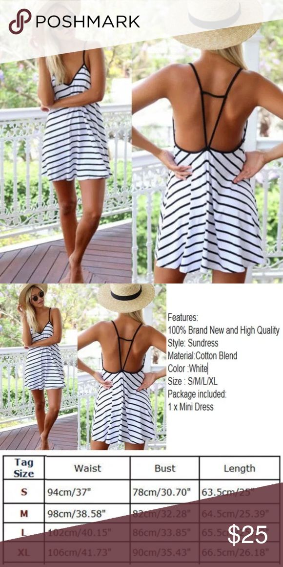 Striped Dress! New Dress! Size Medium. The sizes are posted in the pictures. It is light weight and perfect for summer!                                                       CHECK OUT my self adhesive push-up bra with this outfit! Bundle and SAVE! ☀️ Dresses Mini