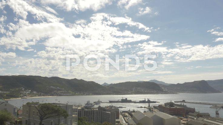 4k Time Lapse Mountains Naval Dock Pier Ocean Beach Sunny Clouds - Stock Footage | by RyanJonesFilms