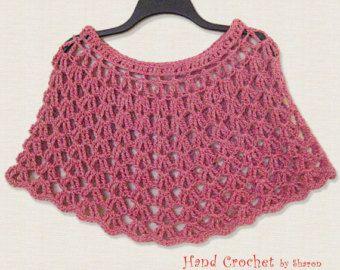 Capa roja de ganchillo, hombro caliente, Crochet de verano mantón, Poncho rojo, abrigo rojo, accesorio de moda, rojo y crema