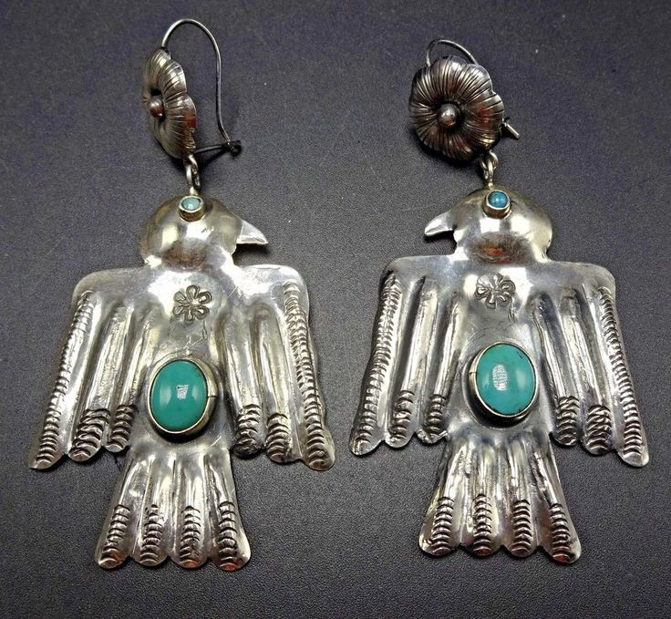 New FEDERICO JIMENEZ Hand Stamped Sterling Silver TURQUOISE Thunderbird EARRINGS #TRIBAL #Cluster