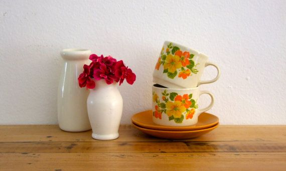 Retro Hibiscus Tea Cup and Saucer Set for Two - Johnson, Australia, 1970's
