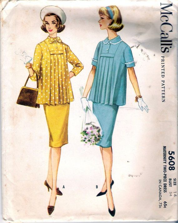 Vintage 1960 McCall's 5608 Maternity Two Piece Dress Sewing Pattern Size 12 Bust…