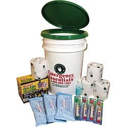 Family Sanitation Kit - you can buy one premade, or make your own with a 5 gallon bucket, garbage bags, and kitty litter