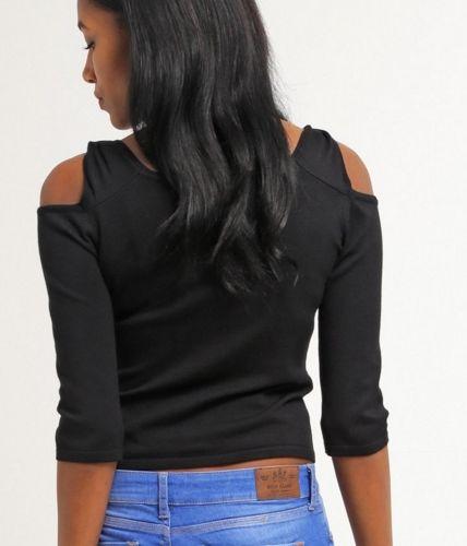 New Look MILANO czarny krótki Sweter wycięte ramiona black