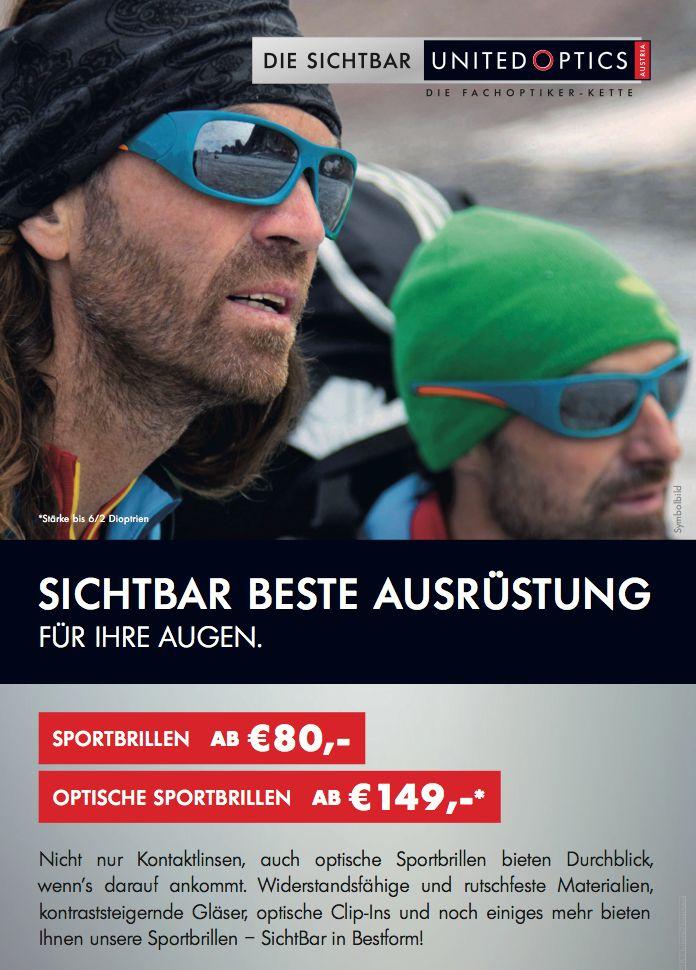 Die besten Sportbrillen für beste Performance! SichtBar United Optics Plakat.