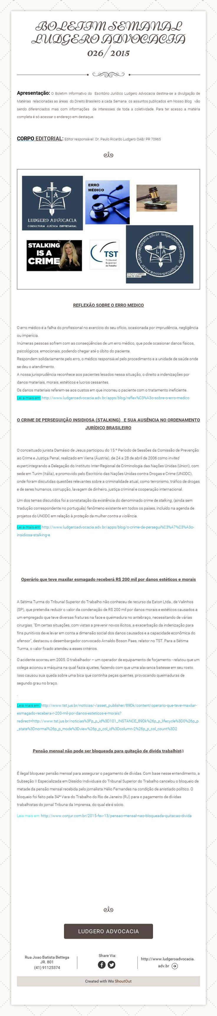 BOLETIM SEMANAL LUDGERO ADVOCACIA026/2015