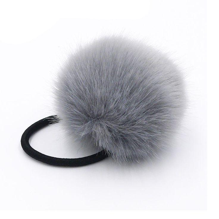 2cp/bag Koreaanse Kunstmatige Konijnenbont Bal Haaraccessoires Elastische haarbanden Touw Ringen Banden Paardenstaart Houders Meisjes Haarband