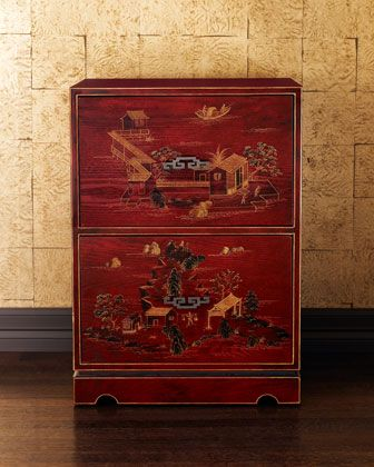 """Chinoiserie File Cabinet - HorchowExclusively ours. A red Chinoiserie double-drawer wooden file cabinet lends grace to your office. Holds letter- or legal-sized files. 20""""W x 16""""D x 28""""T. Chinoiserie File Cabinet Original: $450.00 NOW: $359.90 Take 30% Off: $251.93 HCS13_H40TS Expected to ship no later than: 09/06/2013"""