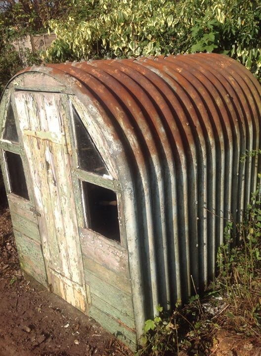 An air raid shelter in a garden in Birmingham UK. Used in WW 2