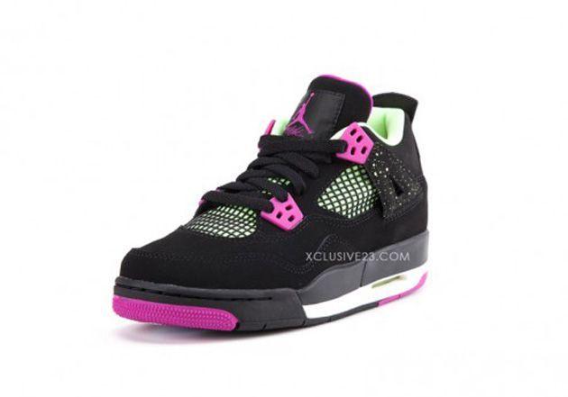 Trendy Womens Sneakers 2017/ 2018 : Air Jordan IV GS  Black / Pink  Volt  Zdjęcia