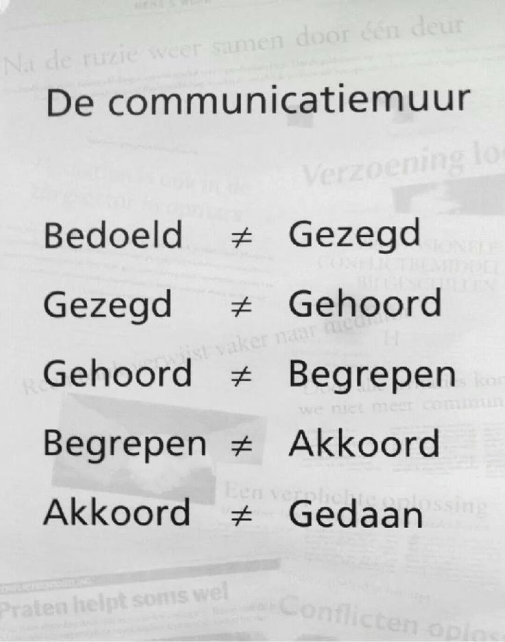 De communicatiemuur: misverstanden in de communicatie.