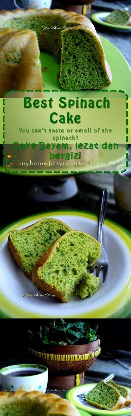 Best Spinach Cake / Cake Bayam, lezat dan bergizi.-Çitra's Home Diary #spinach #spinachcake #cakebayam #ıspanakkek #greenthemecake #kidsmealidea