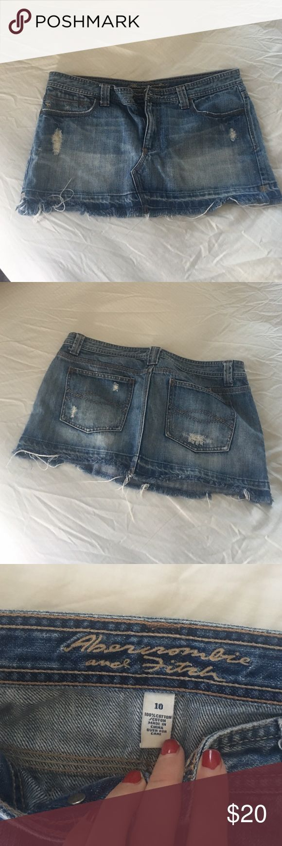 Abercrombie and fitch denim mini Distressed denim mini skirt Abercrombie & Fitch Skirts Mini
