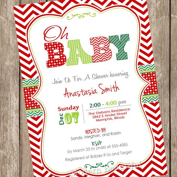 Oh Baby Christmas Baby Shower Invitation winter by ModernBeautiful, $13.00