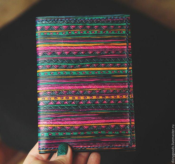 Купить Обложка для паспорта Бохо - комбинированный, цветной, бохо, узор, тиснение, орнамент, разноцветный, зигзаг