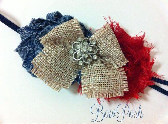 Shabby Chic Headband Denim Headband Flower Headband by BowPosh, $11.99