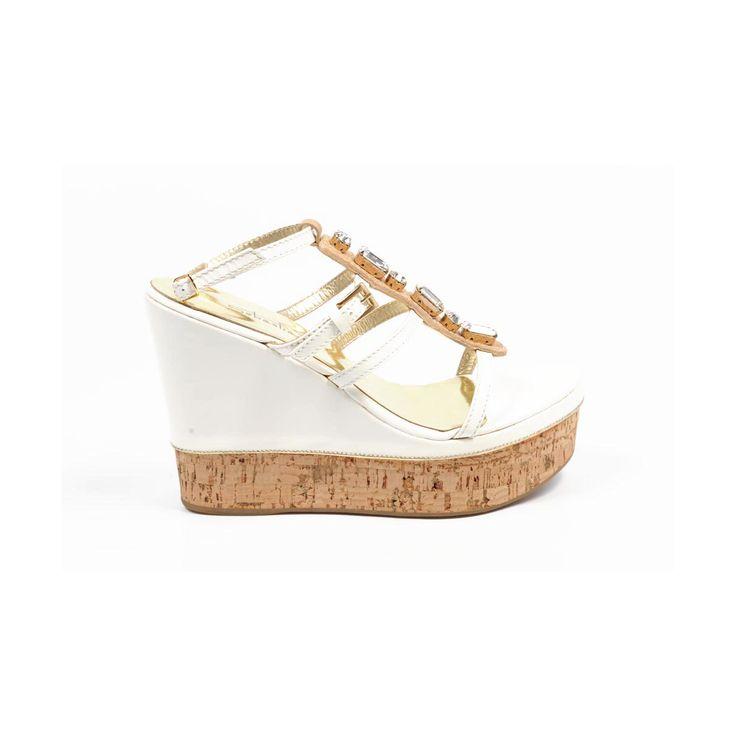 Sebastian Milano ladies espadrille wedge sandal S3185VB VERNICE BIANCA+CRYSTAL