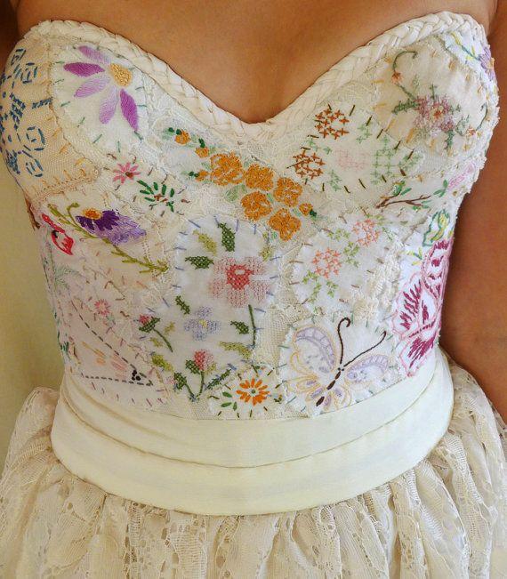 Meadow Bustier Wedding Gown... women dress boho by jadadreaming