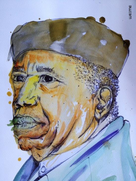 Chinua Achebe Portrait from Wisdom book - Watercolours & Pen