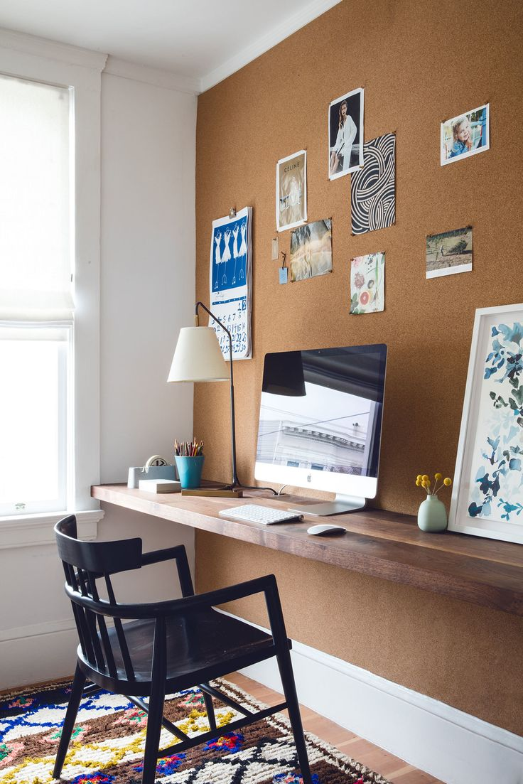 Katie Martinez San Francisco design on a budget - workspace - floating shelf desk with cork wall                                                                                                                                                     More