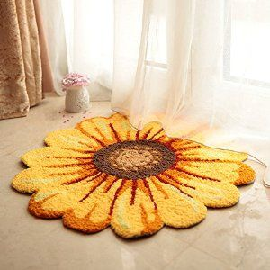 Amazon.com: MeMoreCool Handmade Needlepoint Sunflower Acrylic Area Rugs Bedroom/Living Room/Bathroom/Kitchen Home Decoration Carpet Washable Anti-slip Mats Indoor and Outdoor Welcome Rugs Yellow 25.59 by 25.59 Inch: Kitchen & Dining