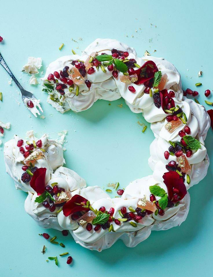 Turkish pavlova with rose petals and mint