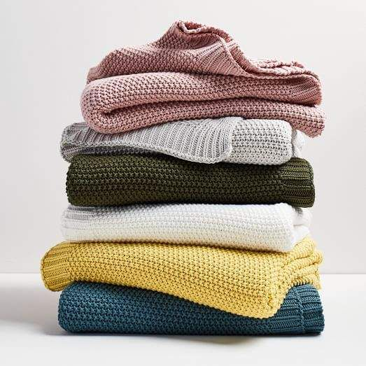 Cotton Knit Throws Knitted Throws Knitting Herringbone Blanket