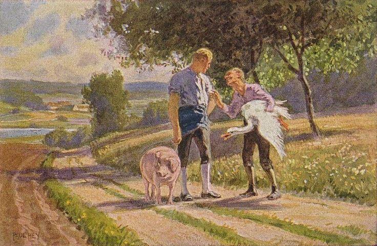 """""""Hans im Glück"""" - Illustration zu Grimms Märchen von Professor Paul Hey, Maler, Grafiker und Illustrator (19.10.1867 in München - 14.10.1952 Gauting)"""