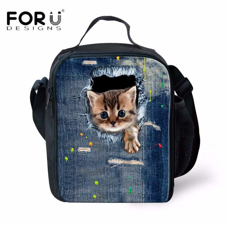 FORUDESIGNS Fashion Women Thermos Lunch Bags Cute Animal Cat Printed Lunch Bag for Kids Picnic Insulated Lunch Box Food Bags